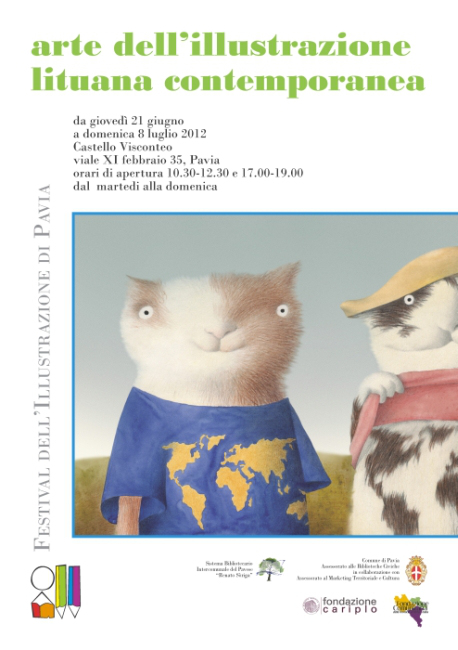 Contemporary Lithuanian Illustration at the Illustration Festival of Pavia 2012. Poster image: Du Katinai (Two Cats) by Rimantas Rolia