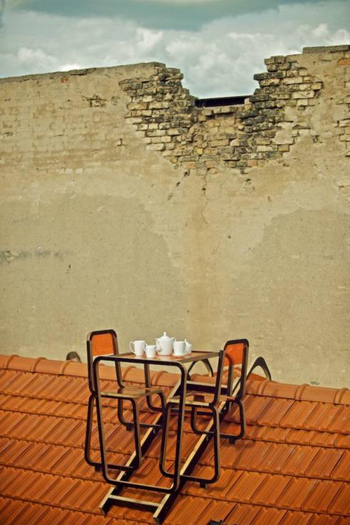 Bastart - Ridged Roof Furniture by Ainė Bunikytė. Užupis, Vilnius, summer 2012. Credits Kernius Pauliukonis