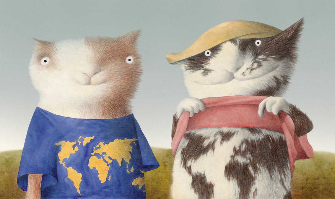 Du Katinai (Two Cats) by Rimantas Rolia - Contemporary Lithuanian Illustration at Pavia