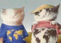 Du Katinai (Two Cats) by Rimantas Rolia - Contemporary Lithuanian Illustration at Pavia