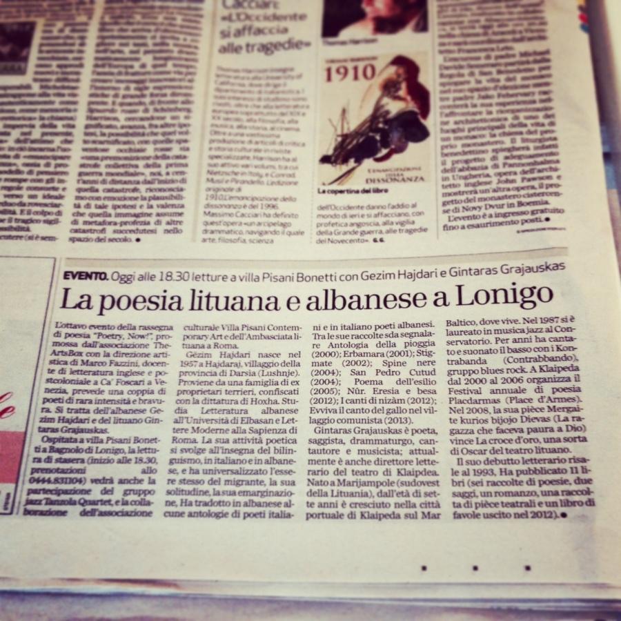 Il giornale di Vicenza - La poesia lituana e albanese a Lonigo