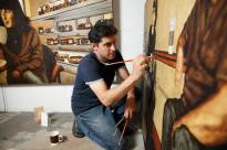 Gerard Tonti, Pittsburgh born artist painting with coffee and tea. Credit Gerard Tonti
